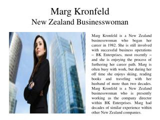 Marg Kronfeld New Zealand Businesswoman