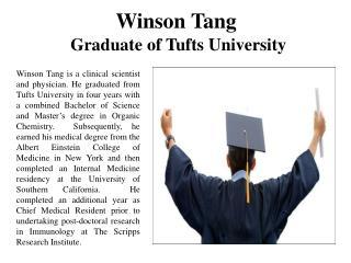 Winson Tang Graduate of Tufts University