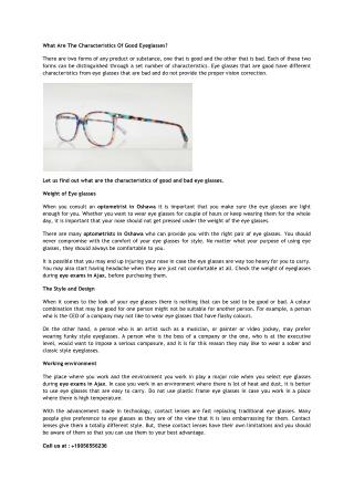 What Are The Characteristics Of Good Eyeglasses?