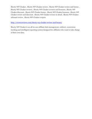Shorty WP Cloaker Review-$32,400 bonus & discount