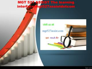 MGT 527 ASSIST The learning interface/mgt527assistdotcom