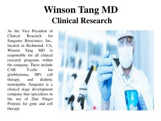 Winson Tang MD Clinical Research