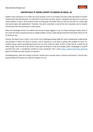 Importance If Hiring Expert Plumbers In Mesa, Az