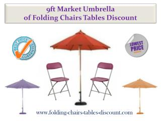 9ft Market Umbrella of Folding Chairs Tables Discount