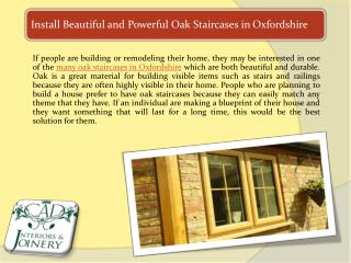 Install Beautiful and Powerful Oak Staircases in Oxfordshire