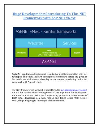 Huge Developments Introducing To The .NET Framework with ASP.NET vNext