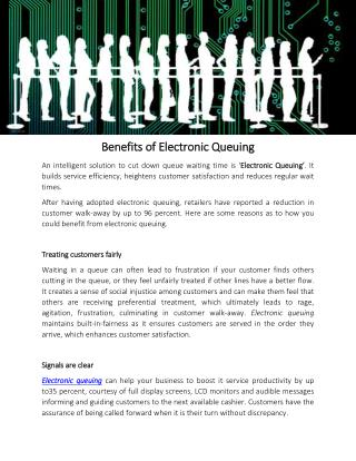 Benefits of Electronic Queuing