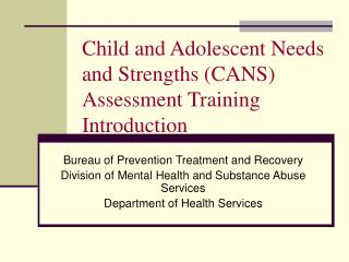 Child and Adolescent Needs and Strengths CANS Assessment Training Introduction