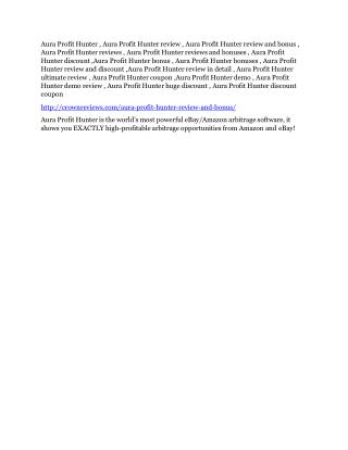 ULTIMATE review and $11000 bonuses of Aura Profit Hunter