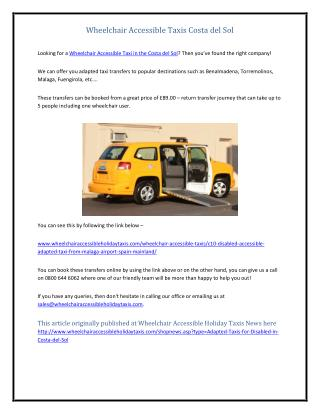 Wheelchair Accessible Taxis Costa del Sol