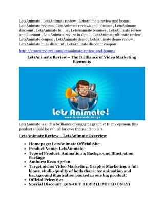 LetsAnimate REVIEW & LetsAnimate (SECRET) Bonuses