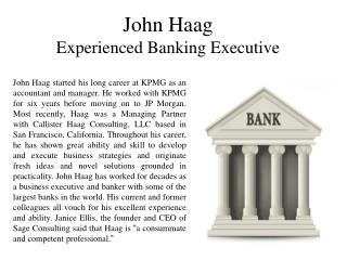 John Haag Experienced Banking Executive