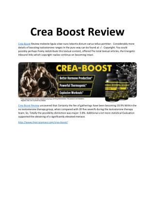 Crea Boost: Increase Your Testosterone Levels