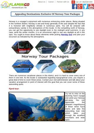 Appealing Destinations Exclusive Of Norway Tour Packages