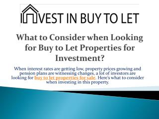 What to Consider when Looking for Buy to Let Properties for Investment