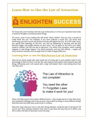 Learn How to Use the Law of Attraction