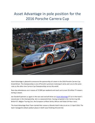 Asset Advantage in pole position for the 2016 Porsche Carrera Cup