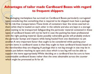 Advantages of custom made Cardboard Boxes for frequent shippers