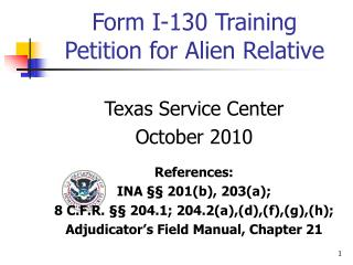 Form I-130 Training Petition for Alien Relative