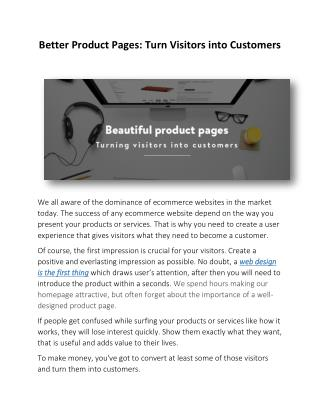 Better Product Pages: Turn Visitors into Customers