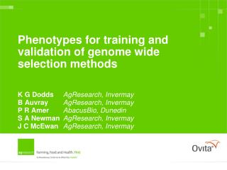 Phenotypes for training and validation of genome wide selection methods