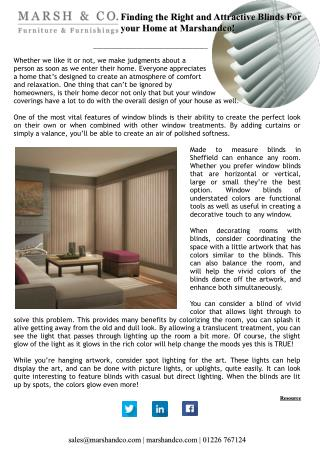 Finding the Right and Attractive Blinds For your Home at Marshandco