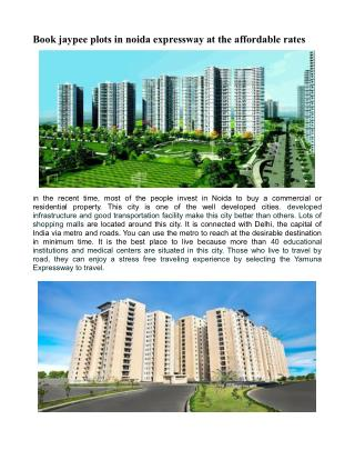 Book jaypee plots in noida expressway at the affordable rates