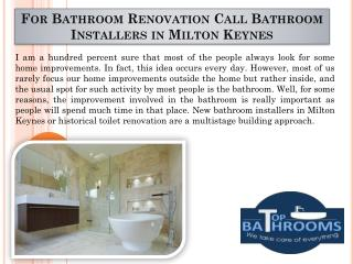 For Bathroom Renovation Call Bathroom Installers in Milton Keynes