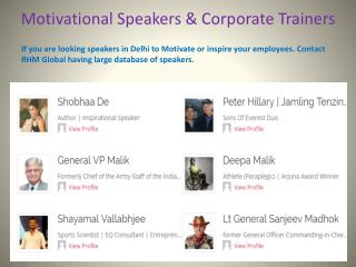 Motivational Speakers and Corporate Trainers in India