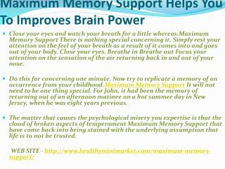 Maximum Memory Support Is Best Way To increase Your mind power