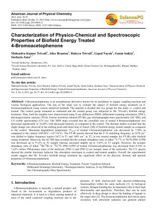 Characterization of Physico-Chemical and Spectroscopic Properties of Biofield Energy Treated 4-Bromoacetophenone