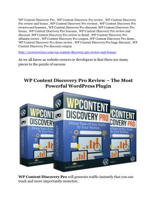 WP Content Discovery Pro review