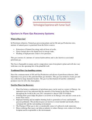 Ejectors in Flare Gas Recovery Systems