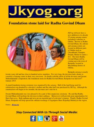 Foundation stone laid for Radha Govind Dham