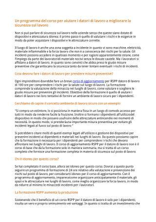 Un programma del corso per aiutare i datori di lavoro a migliorare la sicurezza sul lavoro