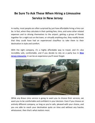Be Sure To Ask These When Hiring a Limousine Service in New Jersey