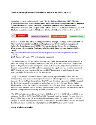 Service Delivery Platform (SDP) Market [Converged Services; Policy Management; Subscriber Data Management (SDM); Telecom