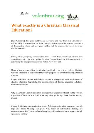 Christian Classical Education by Luis Valentino