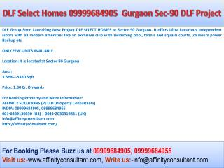 Book Now DLF Select Homes 09999684905 DLF Select Homes