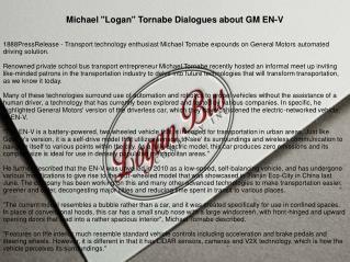 "Michael ""Logan"" Tornabe Dialogues about GM EN-V"