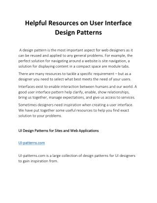 Helpful Resources on User Interface Design Patterns