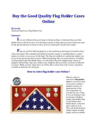 Buy the Good Quality Flag Holder Cases Online