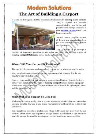 The Art of Building a Carport