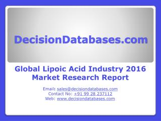 Global Lipoic Acid Industry Analysis and Revenue Forecast 2016