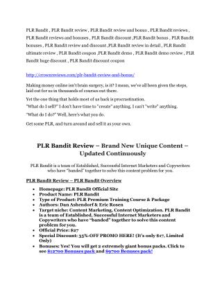 ULTIMATE review of PLR Bandit