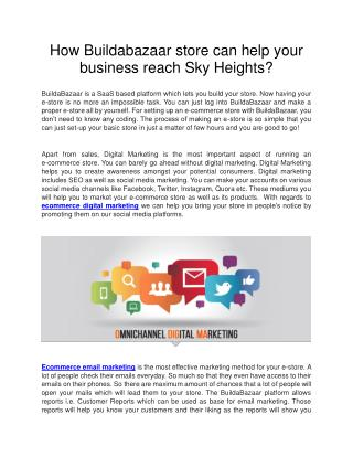 How Buildabazaar store can help your business reach Sky Heights?