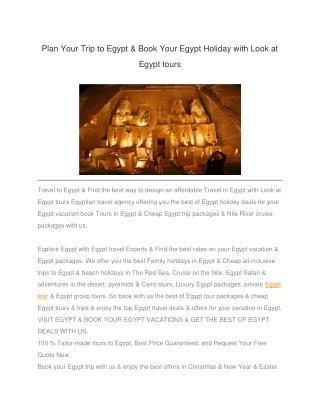 Plan Your Trip to Egypt & Book Your Egypt Holiday with Look at Egypt tours