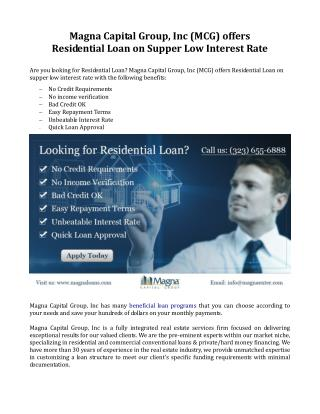 Residential Loan on Super Low Interest Rate