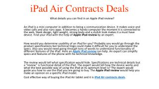 iPad Air  Contracts Deals