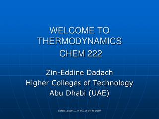 Thermodynamics for undergraduate students
